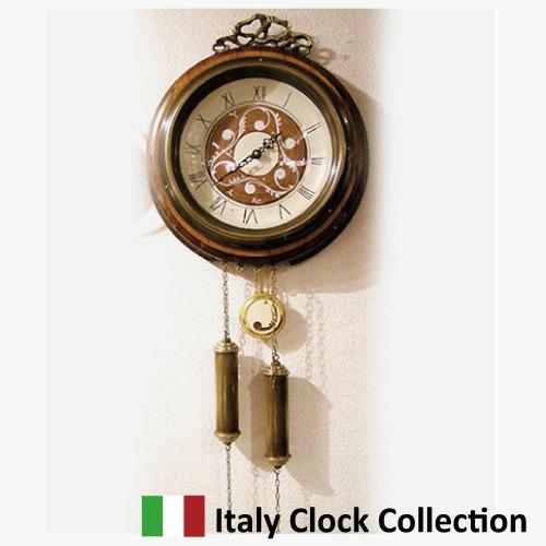 【8月限定 P10倍】イタリア製・カッパー二社 古木・ウォールクロック(ラウンド振り子時計)