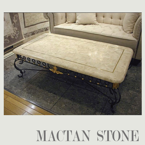 【送料無料・開梱設置付き】希少なマクタン石を使った 大理石センターテーブル(1300)
