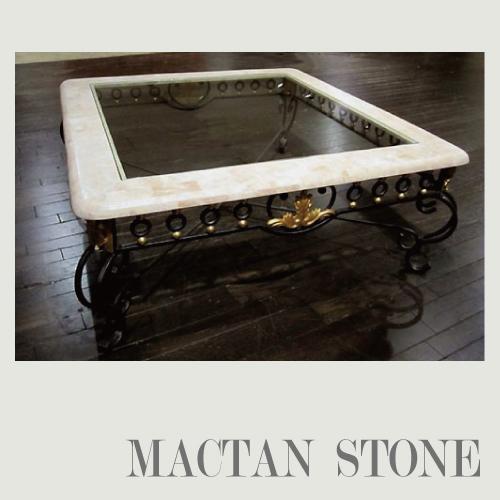 【送料無料・開梱設置付き】希少なマクタン石を使った 大理石センターテーブル(ホワイトガラストップ1000)