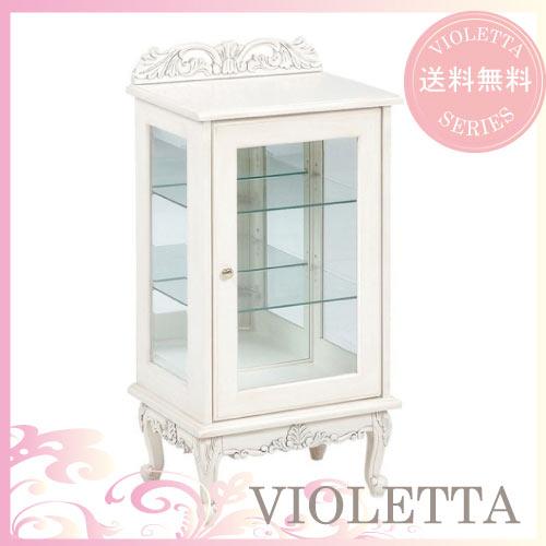 【12月限定 P10倍】【送料無料】 VIOLETTA~ヴィオレッタ~ ガラスキャビネット(ホワイト)