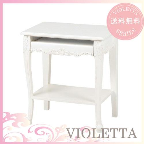 【12月限定 P10倍】【送料無料】 VIOLETTA~ヴィオレッタ~ スライド式・パソコンテーブル(ホワイト)