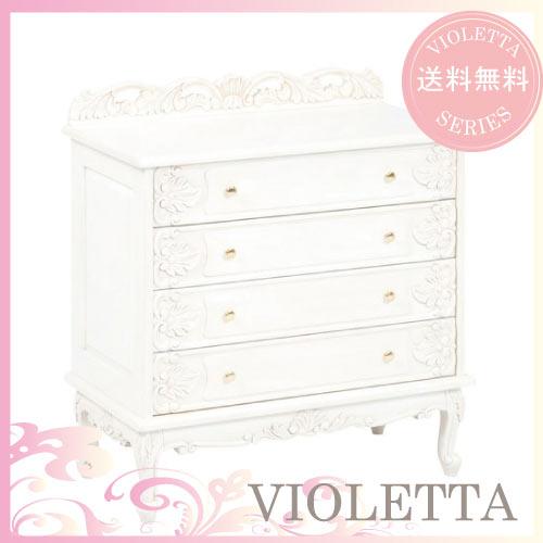 【12月限定 P10倍】【送料無料】 VIOLETTA~ヴィオレッタ~ワイドチェスト(ホワイト)