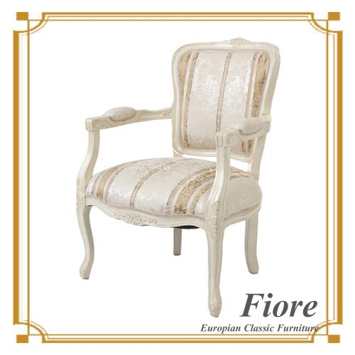 【送料無料】 ヨーロピアンクラシックスタイル Fiore~フィオーレ~ ストライプホワイトサロンチェア