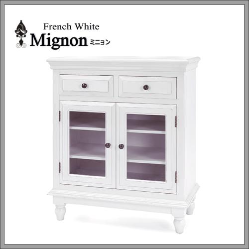 【収納上手】【送料無料】 フレンチホワイト家具 Mignon~ミニョン~ ガラスキャビネット