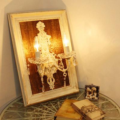 【12月限定 P10倍】【送料無料】Hermine エルミーヌ 2灯ウォールフレームランプ/ホワイトアンティーク
