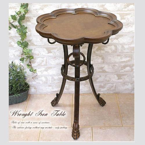 【送料無料】重厚感と温もり感じる アイアン・木製テーブル