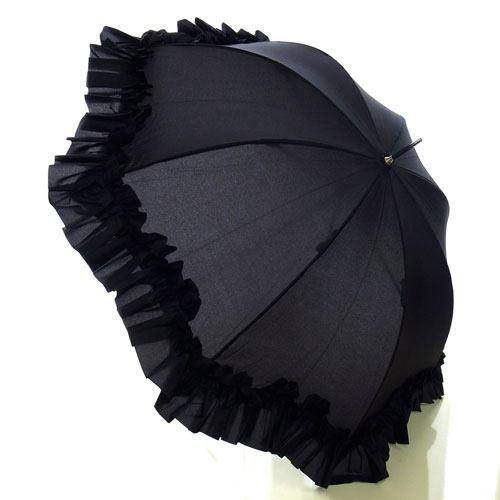 【8月限定 P10倍】雨の日をおしゃれに楽しく♪プリンセスフリル傘(ブラック)