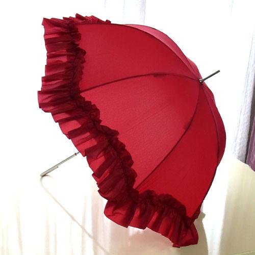 【8月限定 P10倍】雨の日をおしゃれに楽しく♪プリンセスフリル傘(レッド)