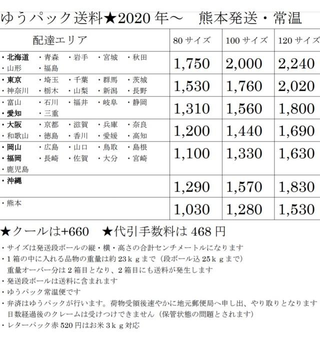 2020年送料価格表