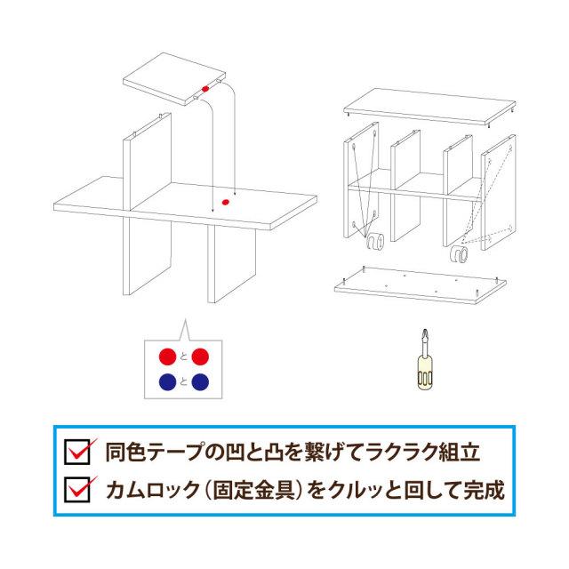 LCA-tape 収納棚 チェスト テープ 凹凸 組立 カムロック 固定金具