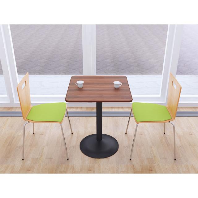 ctrr-60s-db_1.jpg カフェテーブル 60cm 角 四角 □ ブラウン木目 スチール脚ブラック セット写真 1000×1000px