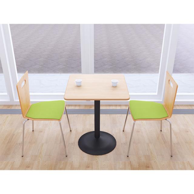 ctrr-60s-na_1.jpg カフェテーブル 60cm 角 四角 □ ナチュラル木目 スチール脚ブラック セット写真 1000×1000px