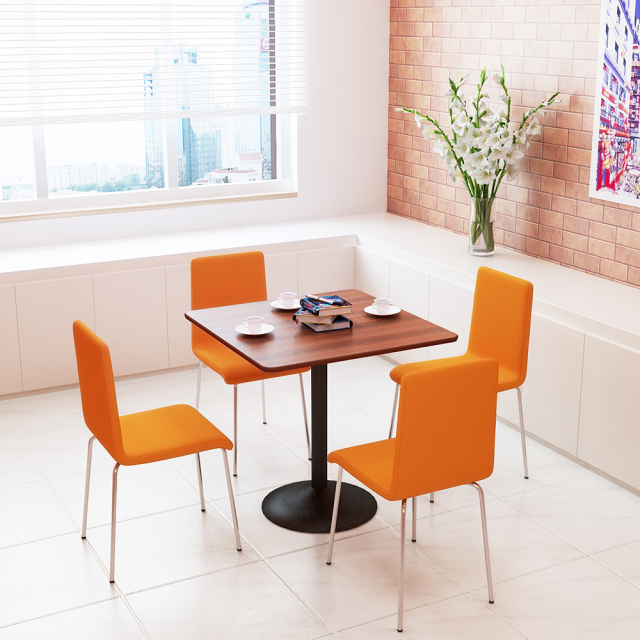 ctrr-75s-db_1.jpg カフェテーブル 75cm 角 ブラウン木目 スチール脚ブラック セット写真 1000×1000px