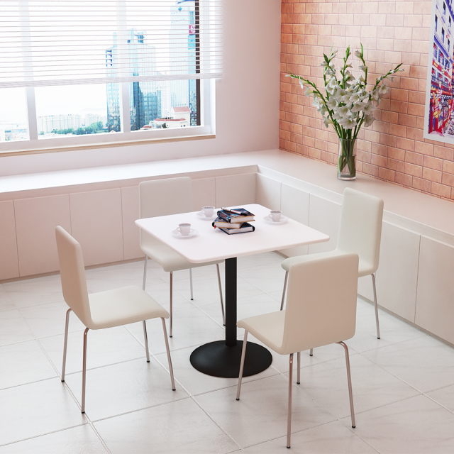 ctrr-75s-wh_1.jpg カフェテーブル 75cm 角 ホワイト スチール脚ブラック セット写真 1000×1000px
