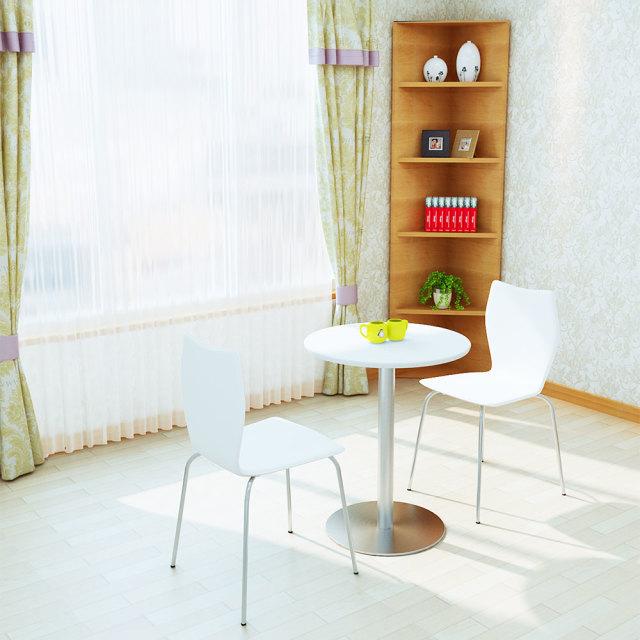cttr-60r-wh_2.jpg カフェテーブル 60cm 丸 ホワイト ステンレス丸脚 セット写真 1000×1000px
