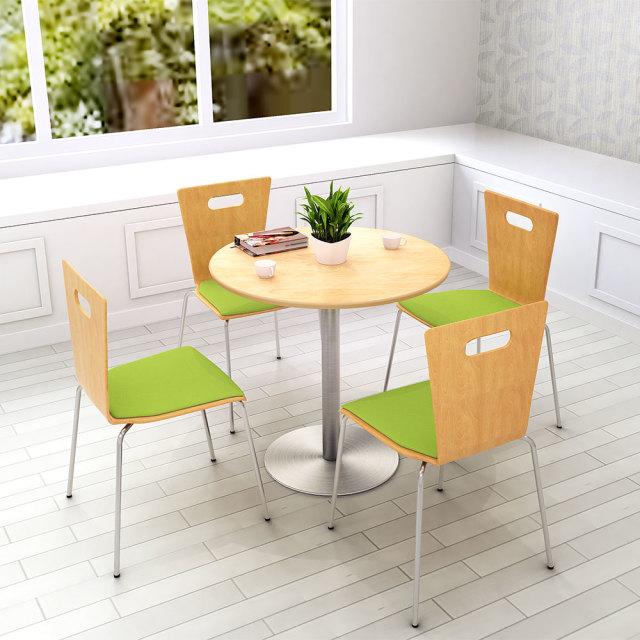 cttr-75r-na_1.jpg カフェテーブル 75cm 丸 ナチュラル木目 ステンレス丸脚 セット写真 1000×1000px