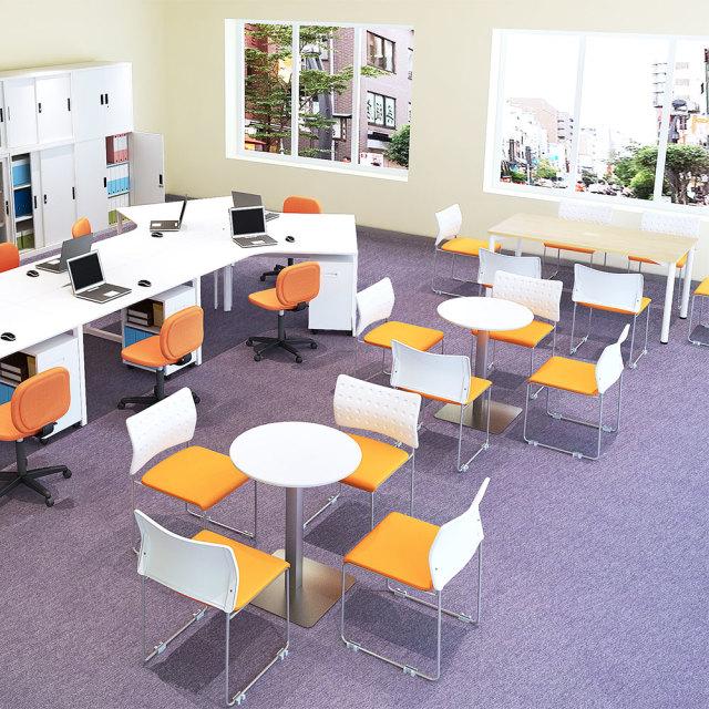 ctts-60r-wh_1.jpg カフェテーブル 60cm 丸 ホワイト ステンレス角脚 セット写真 1000×1000px