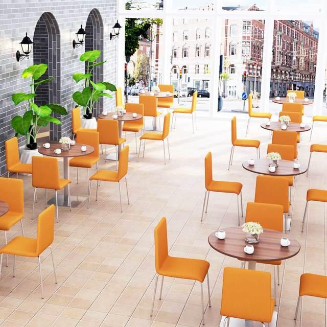 ctts-75r-db_1.jpg カフェテーブル 75cm 丸 ブラウン木目 ステンレス角脚 セット写真 1000×1000px