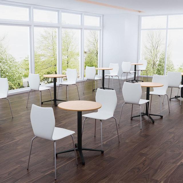 ctxb-60r-na_1.jpg カフェテーブル ナチュラル木目 60cm 丸 アルミX脚ブラック セット写真 1000×1000px
