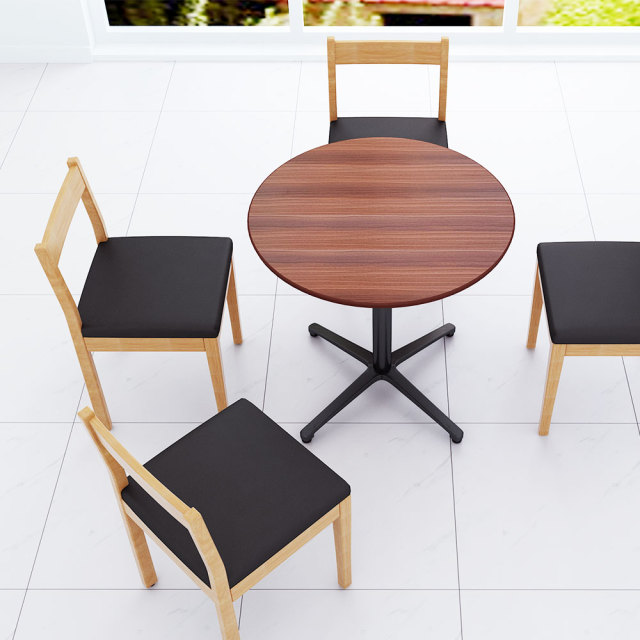 ctxb-75r-db_1.jpg カフェテーブル ブラウン木目 75cm 丸 アルミX脚ブラック セット写真 1000×1000px
