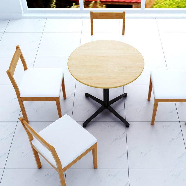 ctxb-75r-na_1.jpg カフェテーブル ナチュラル木目 75cm 丸 アルミX脚ブラック セット写真 1000×1000px