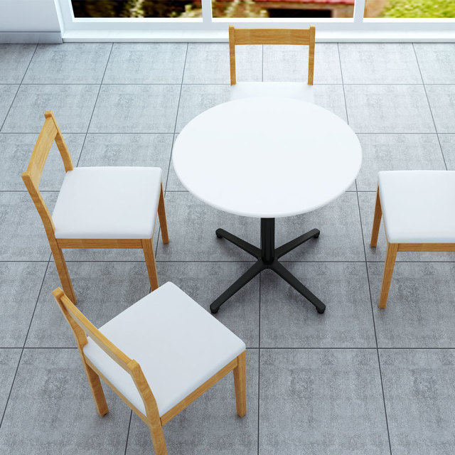 ctxb-75r-wh_1.jpg カフェテーブル ホワイト 75cm 丸 アルミX脚ブラック セット写真 1000×1000px