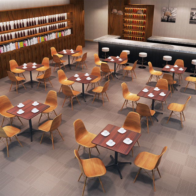 ctxb-75s-db_1.jpg カフェテーブル ブラウン木目 75cm 角 アルミX脚ブラック セット写真 1000×1000px