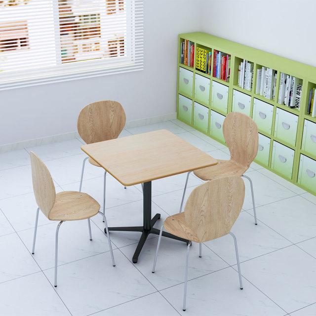 ctxb-75s-na_1.jpg カフェテーブル ナチュラル木目 75cm 角 アルミX脚ブラック セット写真 1000×1000px