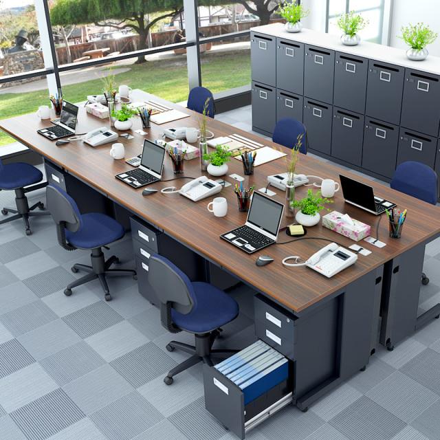 オフィスデスク 平机 幅120cm oad-1270-dbbk