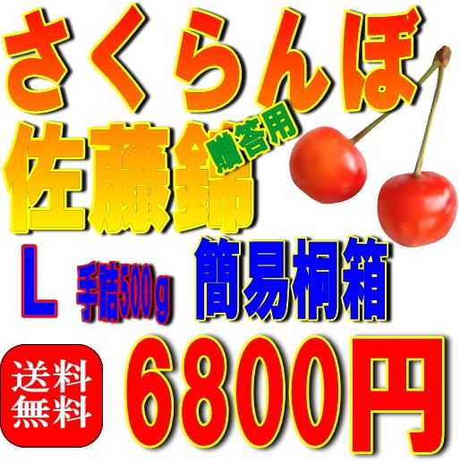 【送料無料】さくらんぼ(簡易タイプ)桐箱入り 佐藤錦 L 500g