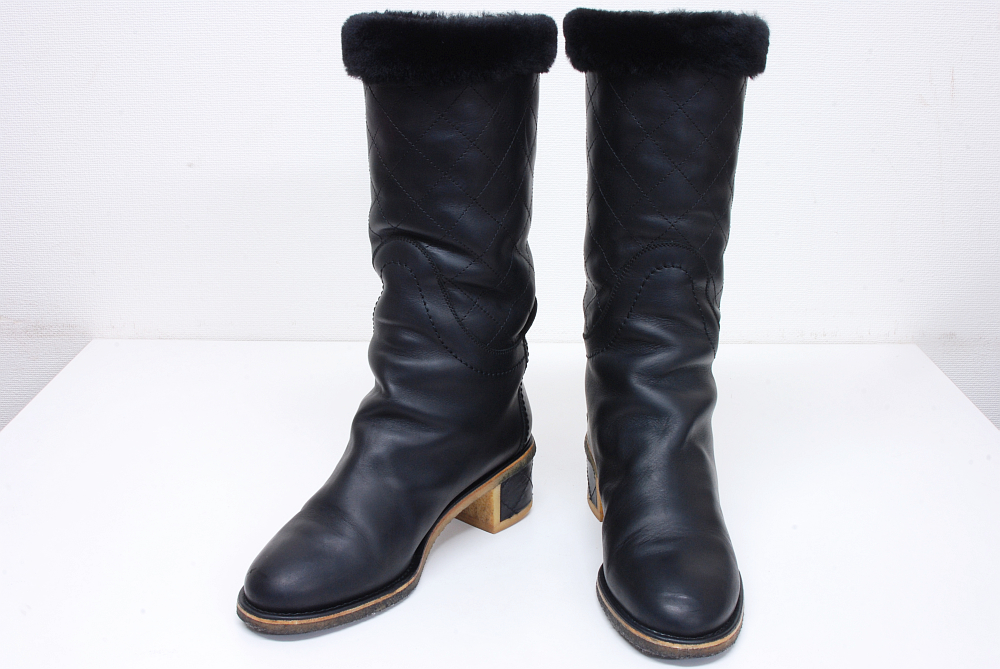 シャネル ココマーク マトラッセ キルティング ムートンボア付 ブーツ #38 ブラック