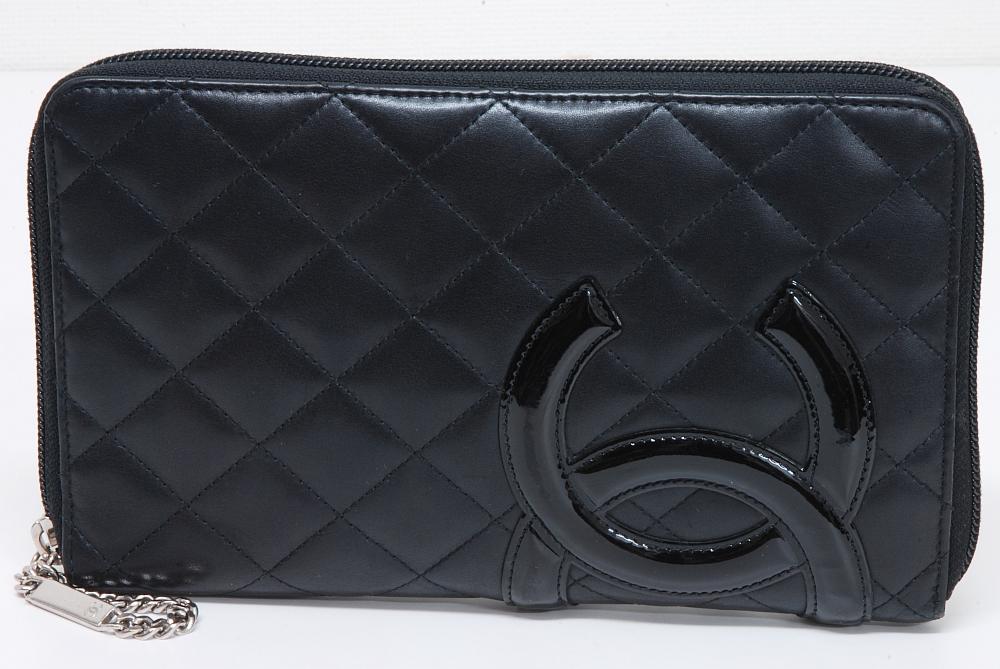 シャネル カンボン ジップウォレット オーガナイザー ファスナー財布 A48660 黒x黒