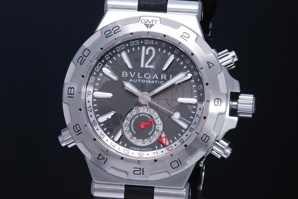 ブルガリ DP42C14SVD ディアゴノ プロフェッショナル エア メンズ GMT ポインターデイト 黒ラバー