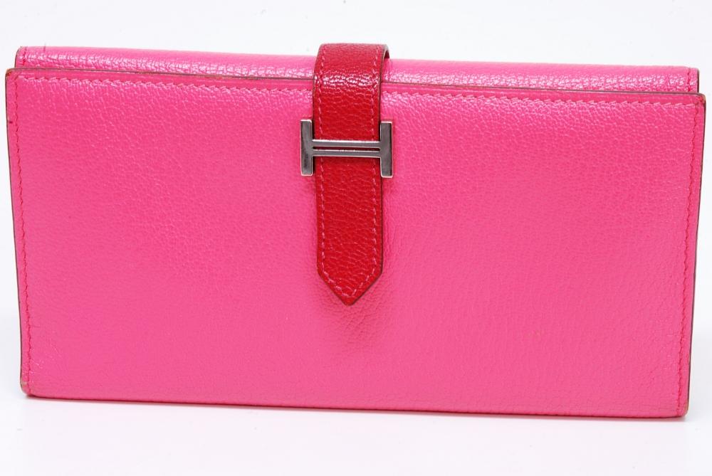 エルメス ベアン デュプリ 三つ折長財布 シェーブル ピンク シルバー金具『Q』