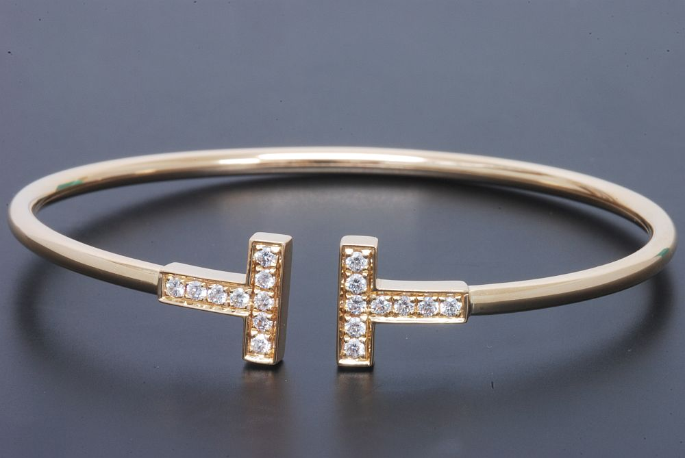 ティファニー Tワイヤー ダイヤモンド ブレスレット K18YG イエローゴールド ダイヤ 0.22ct【正規品・美品】