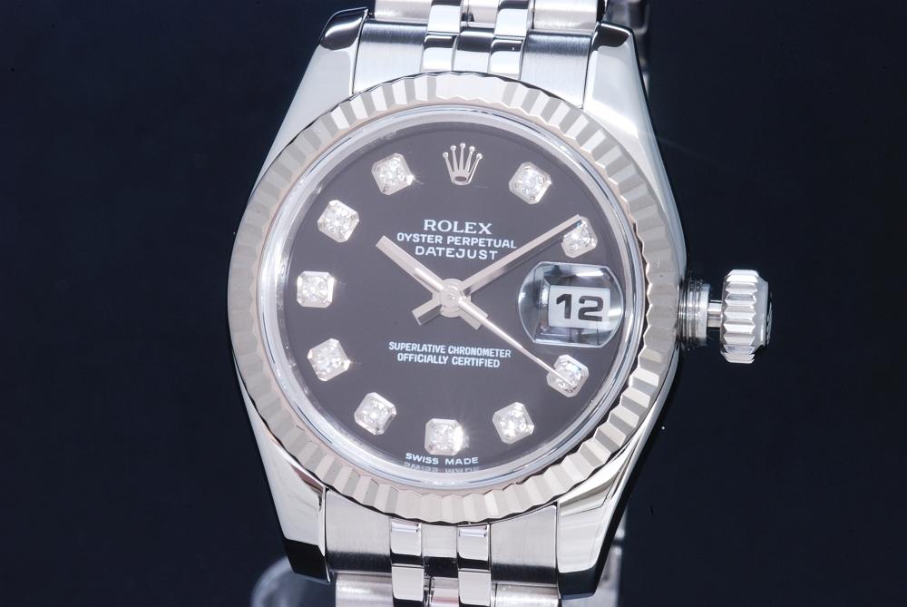 ロレックス オイスターパーペチュアル デイトジャスト 179174G 10Pダイヤ 黒文字盤 SS/K18WG オートマ レディース M番