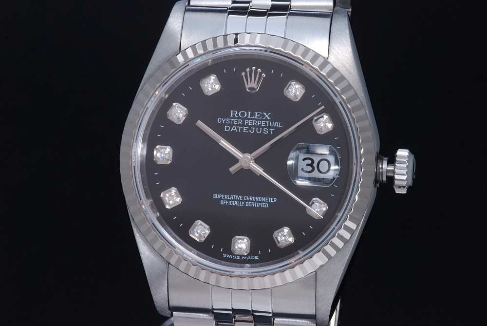 ロレックス 16234G デイトジャスト 10Pダイヤ 黒文字盤 メンズ オートマ W番