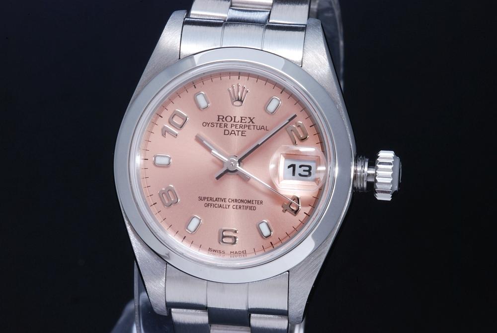ロレックス 79160 オイスターパーペチュアル デイト ピンクアラビア文字盤 レディース オートマ P番