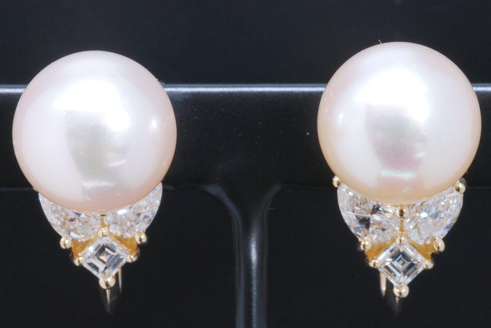 クィーン ジュエリー QUEEN パール ダイヤモンド イヤリング K18YG イエローゴールド 真珠 9mm珠【美品】