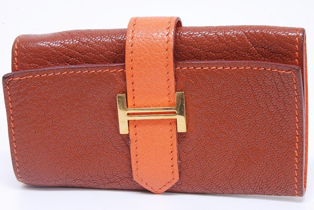 エルメス ベアン 4本キーケース シェーブル ブラウン オレンジ ゴールド金具 『L』刻印