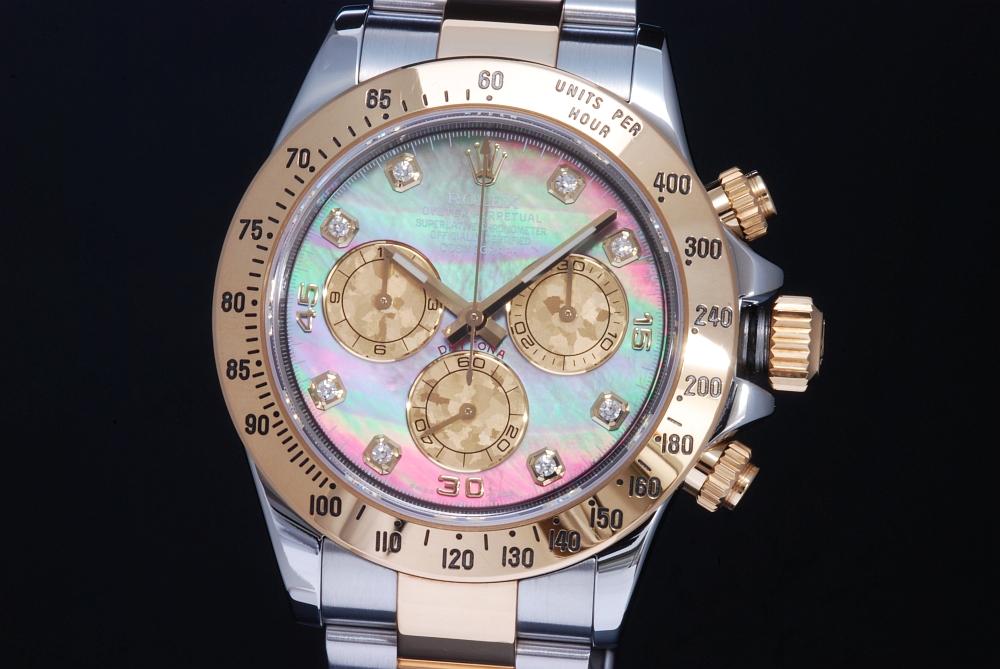 ロレックス 116523NG コスモグラフ デイトナ メンズ SS/YG クロノグラフ ブラックシェル8Pダイヤ ランダム【正規品・OH済】