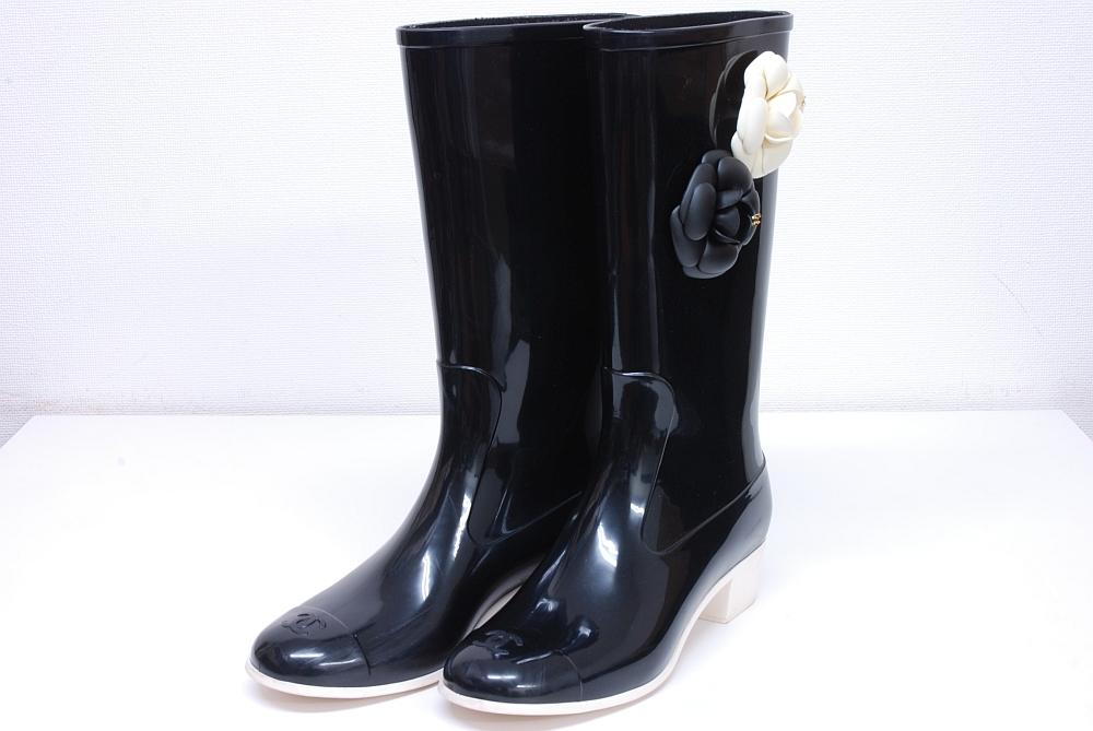 シャネル カメリア ココマーク レインブーツ ロングブーツ 長靴 ラバー 38 25cm ブラック