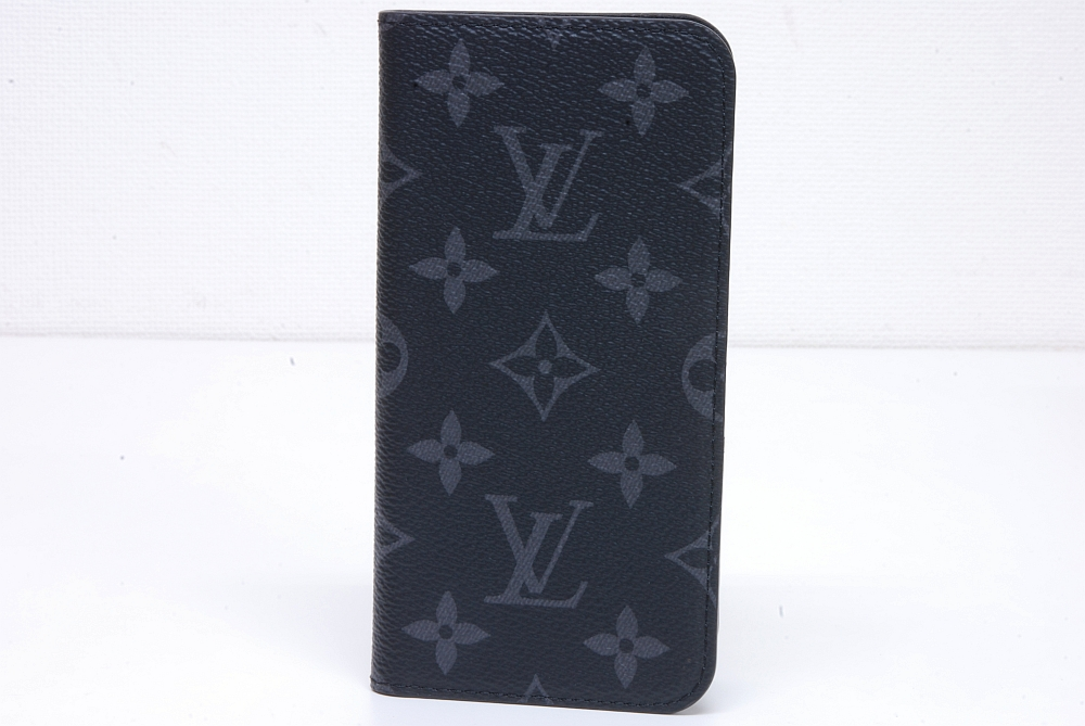 ヴィトン モノグラム エクリプス iphone X フォリオ アイフォンケース M63446【新品同様】
