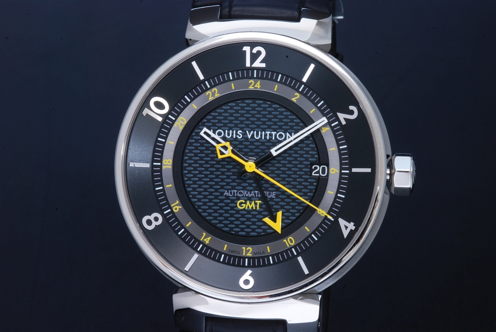 ヴィトン タンブールムーン GMT ブラック Q8D30Z メンズ SS/アリゲーター革 オートマ 裏スケ 黒文字盤【正規品】
