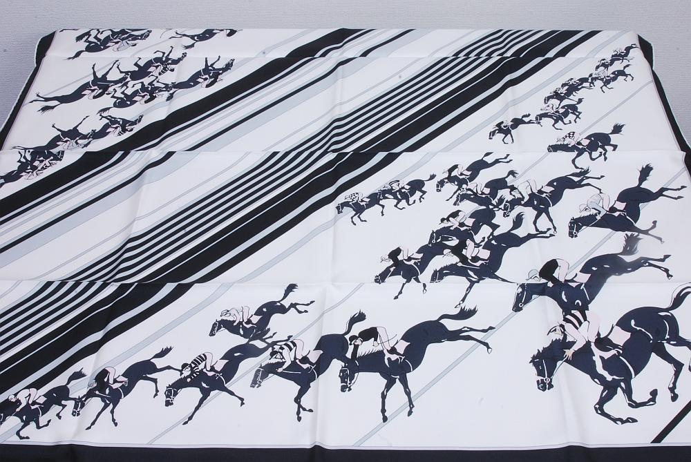 エルメス カレ90 乗馬・ジョッキー柄 スカーフ シルク100%【正規・未使用・アレンジカード付】