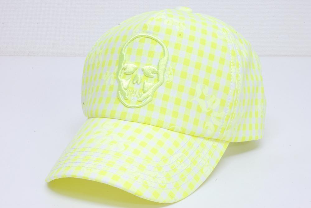 ルシアン ペラフィネ キャップ 帽子 スカルロゴ ギンガムチェック ピンク スナップバック ネオンイエロー【正規品】