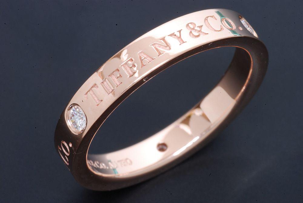 ティファニー 3Pダイヤモンド フラット バンドリング K18RG ローズゴールド ダイヤ0.07ct