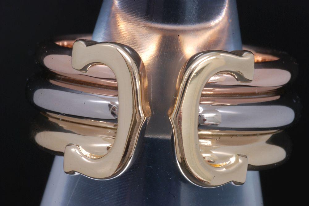 カルティエ 2Cリング LM K18PG K18WG K18YG スリーカラーゴールド #50 B4026200【正規品・ギャラ付】
