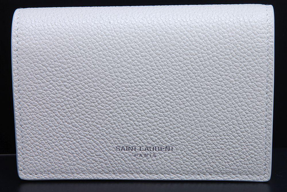 サンローラン レザー ビジネスカードケース 名刺入れ ホワイト 360433【新品】☆