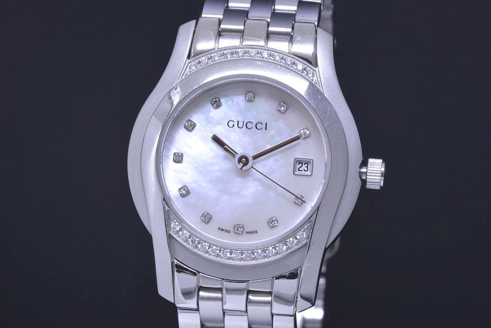 グッチ 5500L Gクラス ダイヤベゼル レディース SS クォーツ ダイヤ11Pシェル文字盤